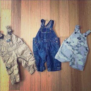 Three 6-9 month overalls bundle